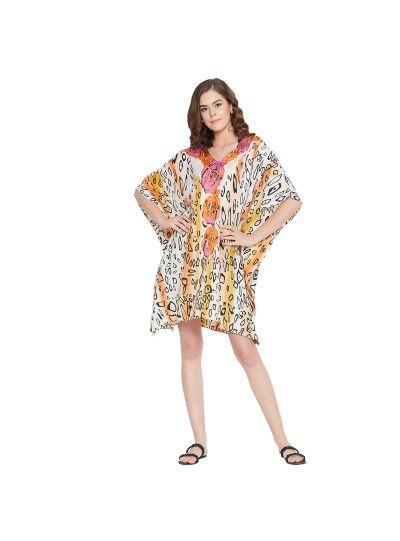 Beige Women Short Kaftan Polyester Floral Print Dress Lightweight Mini Tunic Top
