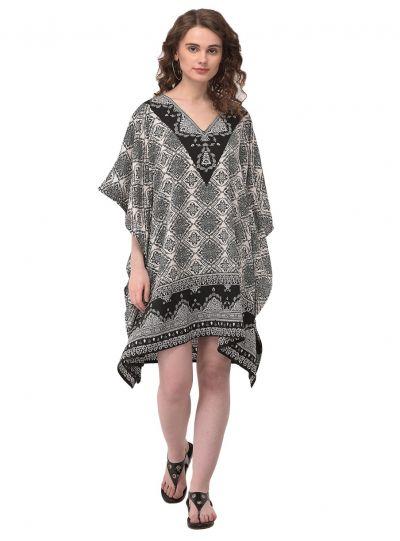 Black & White Geometric Pattern Tunic Kaftan Plus Size Polyester Tunic Dress for Women Beachwear Short Tunics