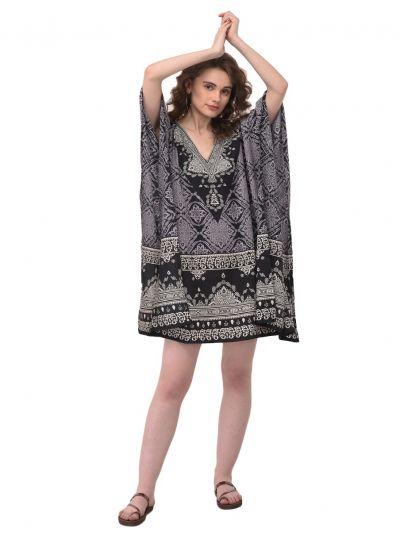 Black Geometric Pattern Tunic Kaftan Plus Size Polyester Tunic Dress for Women Beachwear Short Tunics