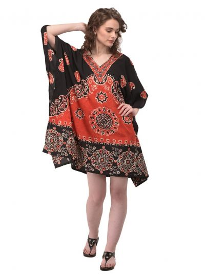 Red Floral & Paisley Tunic for Women Plus Size Short Kaftan Dress