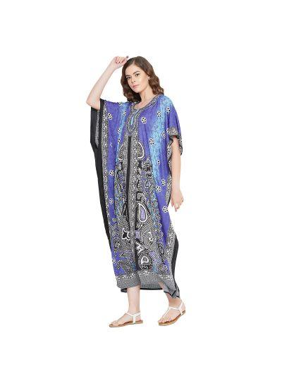 Light Purple Women Polyester Paisey Print Long Maxi Kaftan