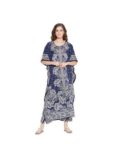 Navy Women Polyester Floral Print Lightweight Long Maxi Kaftan
