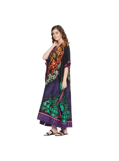 Mulit Colour Polyester Floral Print Long Maxi Kaftan