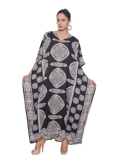 Black Plus Size Kaftan Dress for Women Abstract Print Full Lenth Maxi Beach Coverup Long Beach Wear Online