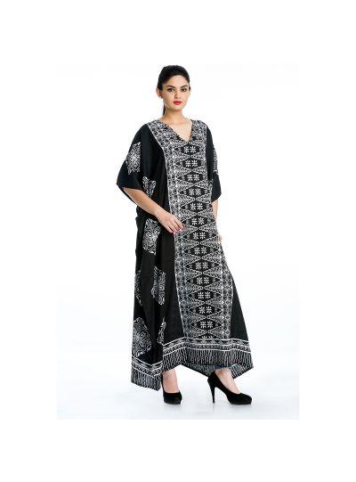 Black Plus Size Women Caftan Beach Kimono Long Maxi Dress Boho Printed Kaftan