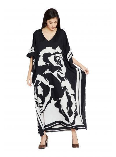 Black & White Floral Design Plus Size Kaftan Dress for Women Full Length Maxi Kimono Online