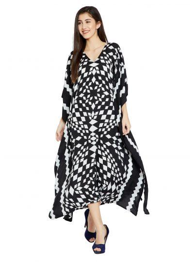 White Geometric Design Plus Size Kaftan Dress for Women Full Length Maxi Kimono Online