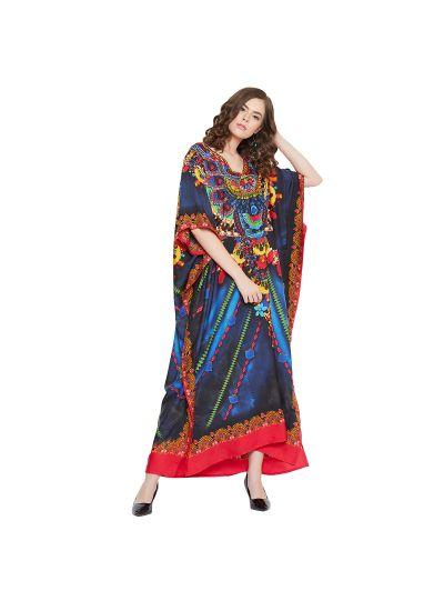 Red & Blue Women Polyester Floral Print Lightweight Long Maxi Kaftan