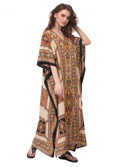 Women Kaftan African Geometric Print Beige Caftan Hippie Style Plus Size Maxi Dress