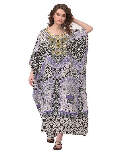 Multicolor Floral Plus Size Kaftan Dress for Women Abstract Print Full Lenth Maxi Beach Coverup Long Beach Wear Kaftan