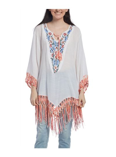Cotton Embroidered Summer Butterfly Pattern Fringe Trim Women's Tunic
