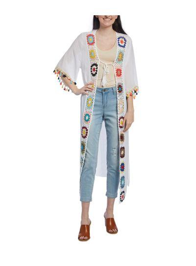 Viscose Spring Summer Crochet Pom-Pom Duster Women Cover up