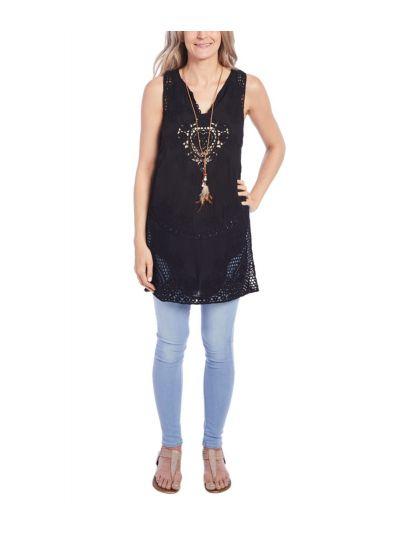 Cotton Paisley Lace Work Crochet Long Top Sleeveless Women Tunic
