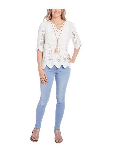 Floral Pattern Crochet Summer Long Sleeves Women's Accent Top