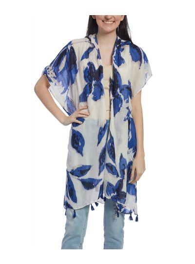 Polyester Floral Print Fringe Trim Women Summer Women Cover Up