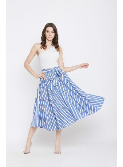 Women Rayon Striped Skirt A-Line High Waist Midi Skirt With Belt
