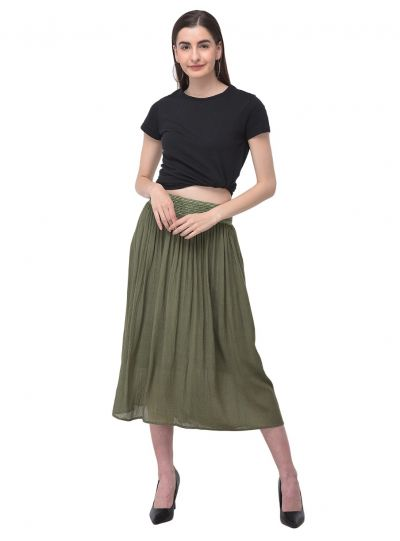 Women Rayon Skirt Solid Gauze Midi Dress Girls Casual Summer Skirt