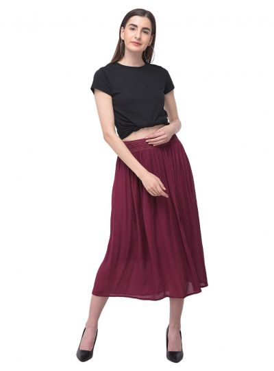 Women Solid Skirt Rayon Gauze High Waist Midi Dress Skirt