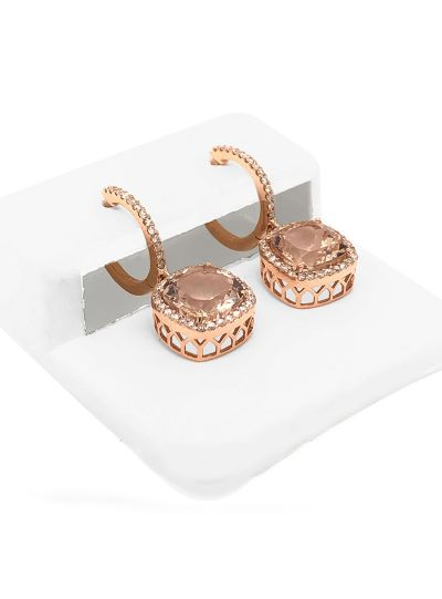 14K Rose Gold Diamond And Morganite Halo Earrings For Women