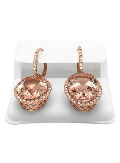 14K Rose Gold Diamond Oval Cut Morganite Dangle Earrings For Women