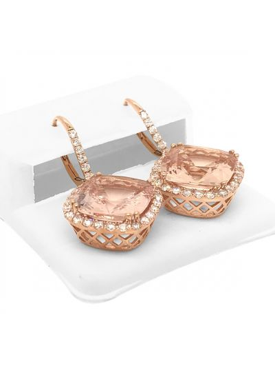 14K Rose Gold Cushion Cut Morganite Diamond Dangle Earrings For Women