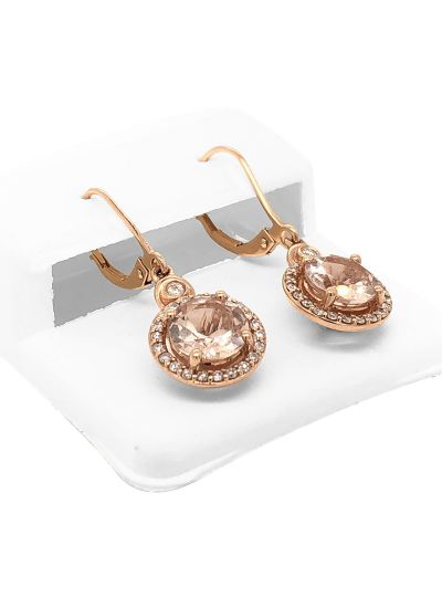 14K Rose Gold Round Cut Morganite Diamond Dangle Women Earrings