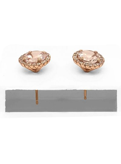 14K Rose Gold Round Morganite Diamond Stud Women Earrings Jewelry