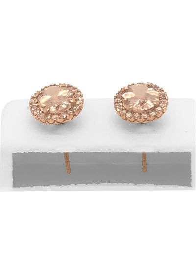 14K Rose Gold Oval Shaped Morganite And Diamond Stud Earrings For Women
