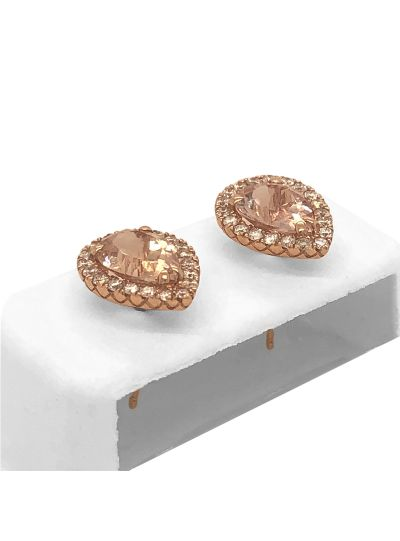 14K Rose Gold Pear Shaped Morganite And Diamond Stud Earrings For Women