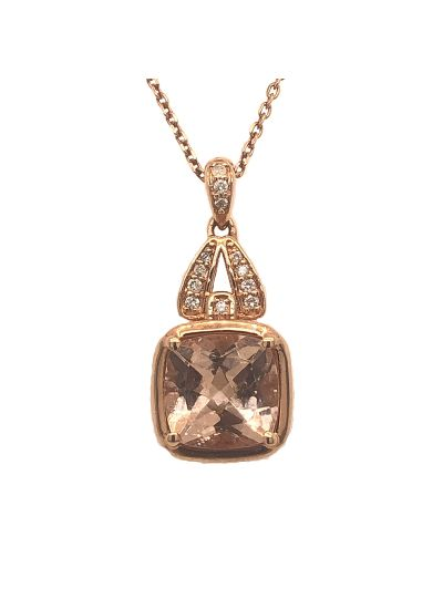 14K Rose Gold Classic Cushion Morganite Diamond Pendant For Women
