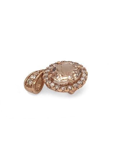 14K Rose Gold Morganite And Diamond Accent Pendant For Women