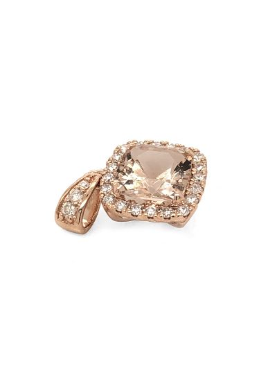 14K Rose Gold Cushion Cut Morganite Halo Vintage Diamond Pendant For Women
