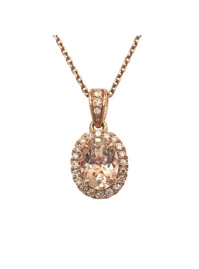 14K Rose Gold Pink Oval Cut Morganite Diamond Halo Pendant For Women