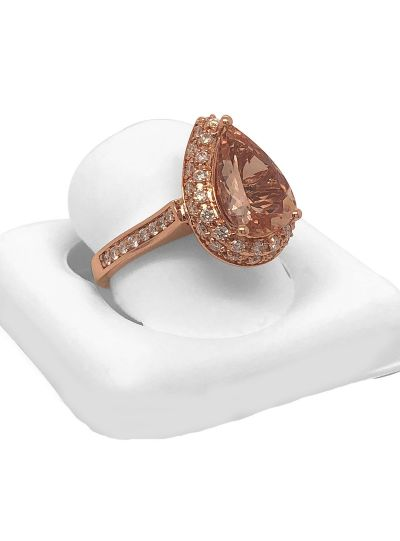14K Rose Gold Natural Pear Shape Morganite Diamond Designer Ring For Women