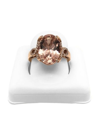 14K Rose Gold Oval Cut Morganite Diamond Halo Engagement Ring For Women