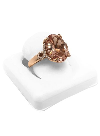 14K Rose Gold Oval Cut Morganite Diamond Halo Engagement Ring For Women