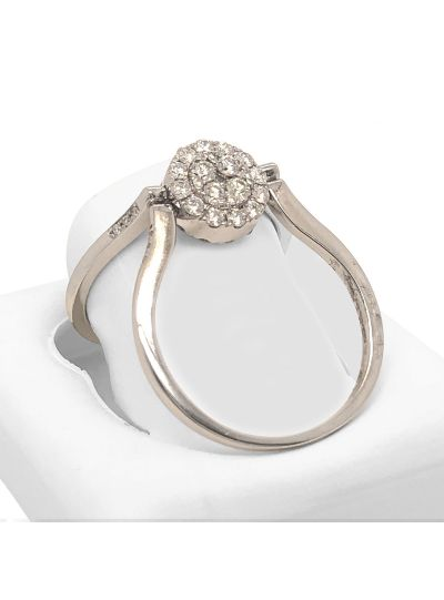 14K White Gold Reversible Round Halo Designer Diamond Ring For Women