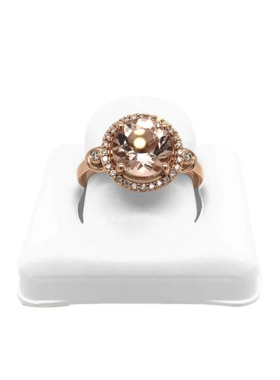 14K Rose Gold Pink Morganite Diamond Halo Engagement Ring For Women