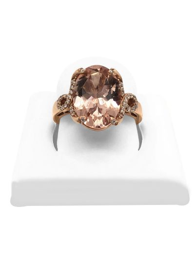 14K Rose Gold Morganite Diamond Halo Wedding Ring For Women