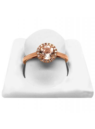 14K Rose Gold Halo Collection Morganite And Diamond Engagement Ring For Women
