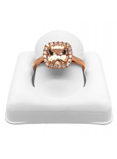 14K Rose Gold Morganite And Diamond Halo Cushion Ring For Women
