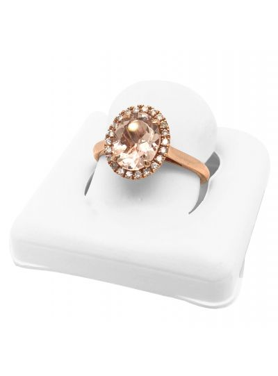 14K Rose Gold Diamond Engagement Ring In Morganite Oval Cut For Women