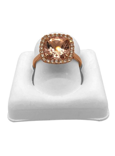 14K Rose Gold Diamond Cushion Cut Morganite Stone Ring For Women