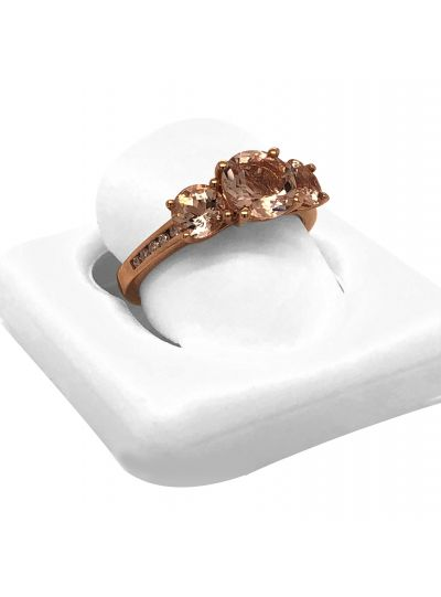 14K Rose Gold Morganite Diamond 3 Stone Engagement Ring For Women
