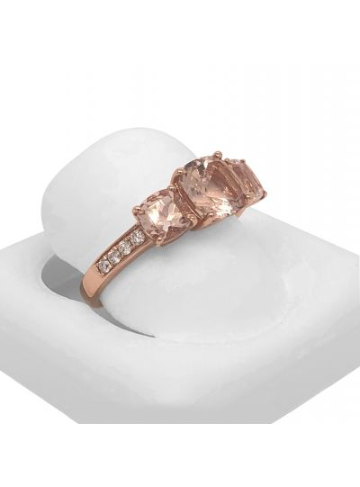 14K Rose Gold Cushion Cut Morganite Diamond 3 Stone Designer Ring For Women