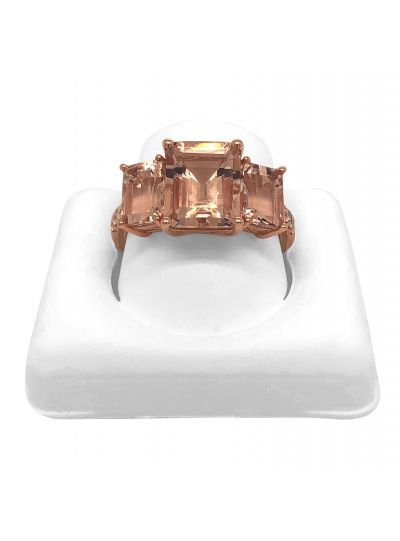 14K Rose Gold 3 Stone Morganite Cushion Cut Diamond Ring For Women