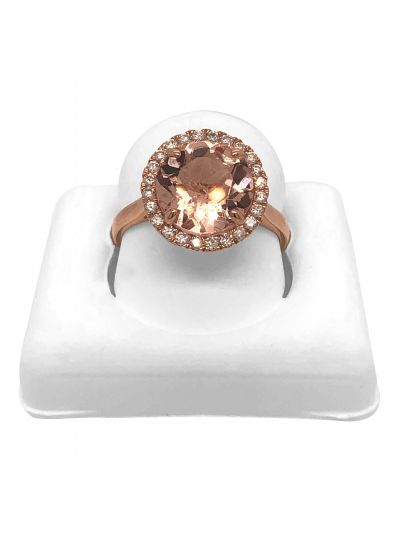 14K Rose Gold Morden Diamond And Morganite Halo Engagement Ring For Her