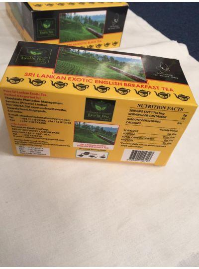 Pure Ceylon Sri Lankan Exotic English Breakfast Tea 50 &100 Bags
