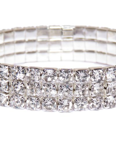 Sparkling Three Layer Silver Crystal Tennis Bracelet for Women