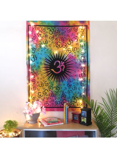 Multicolor Cotton Tie Dye Om Wall Hanging Poster Online